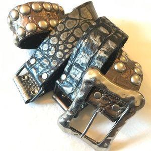 LEATHERROCK Sz L Black Studded Leather Belt